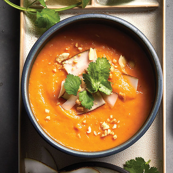 Creamy soup: Thai sweet potato red curry soup