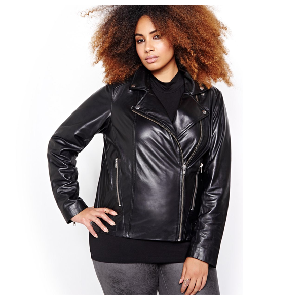 """<p>A chic leather moto coat is the ultimate investment piece. Itworks as a blazer in the winter and a light jacket come spring. Sly&Co Leather Jacket, $199, <a href=""""http://www.additionelle.com/en/slyandco--leather-jacket/761077.html?dwvar_761077_color=black#q=leather&start=1&sz=12"""" target=""""_blank"""">Addition Elle</a>.</p>"""