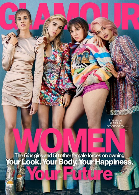 The cast of Girls on the cover of Glamour's February issue.