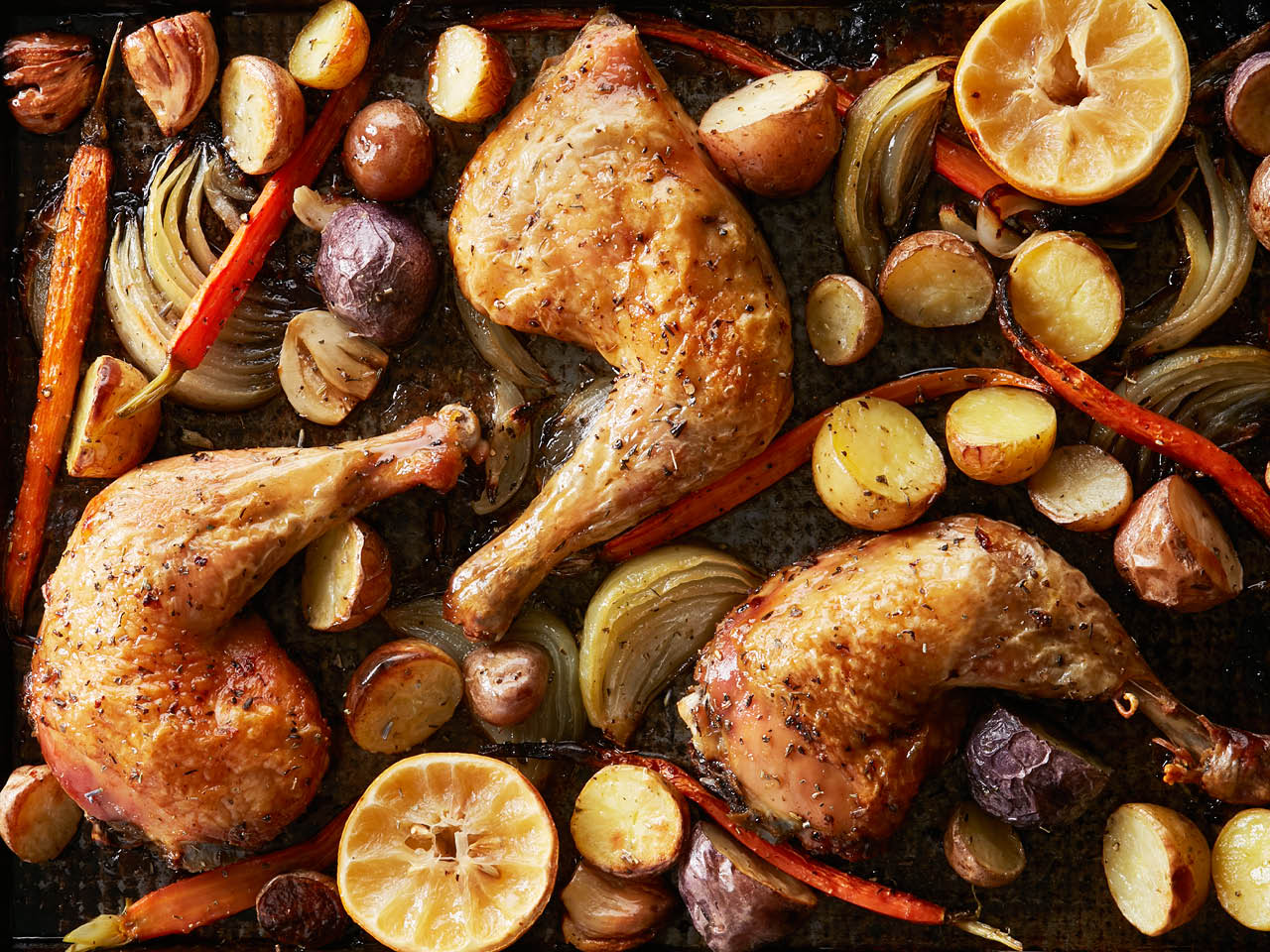 Roast chicken sheet pan dinner