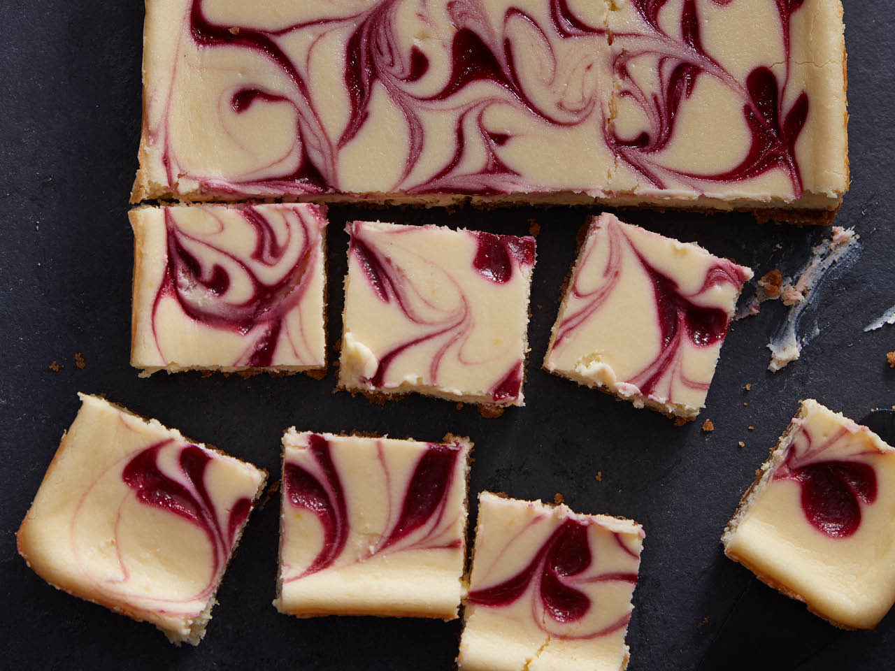 Swirled raspberry cheesecake bars