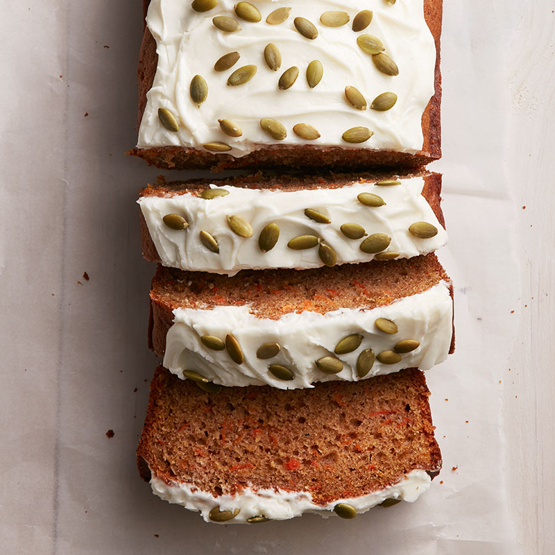 Carrot cake loaf with cream cheese icing
