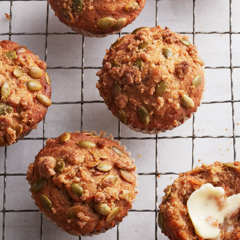 Streusel-crunch spiced carrot cake muffins