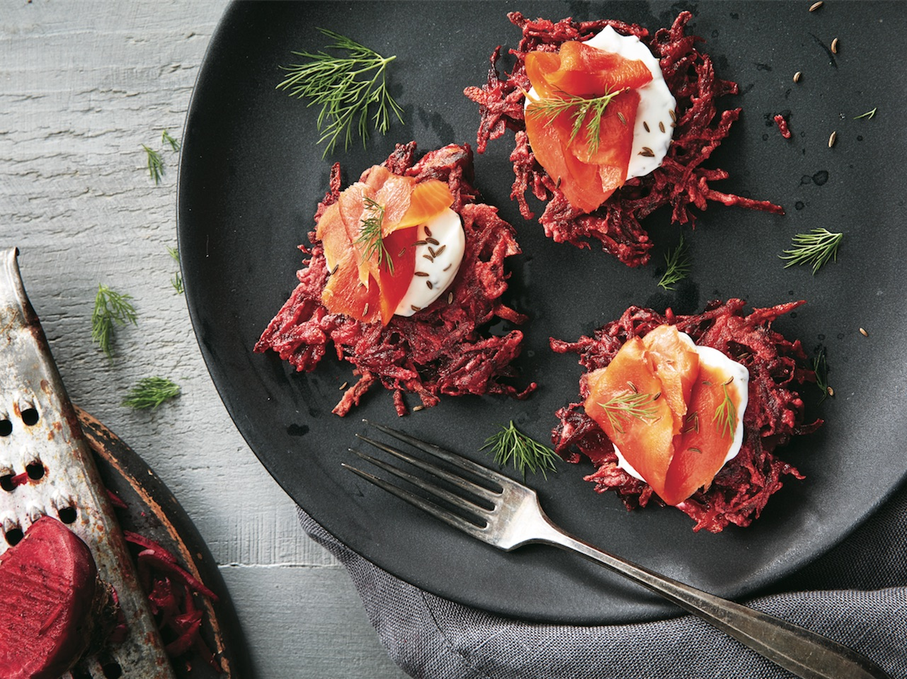Beet recipes - Beet latkes with sour cream smoked salmon and dill