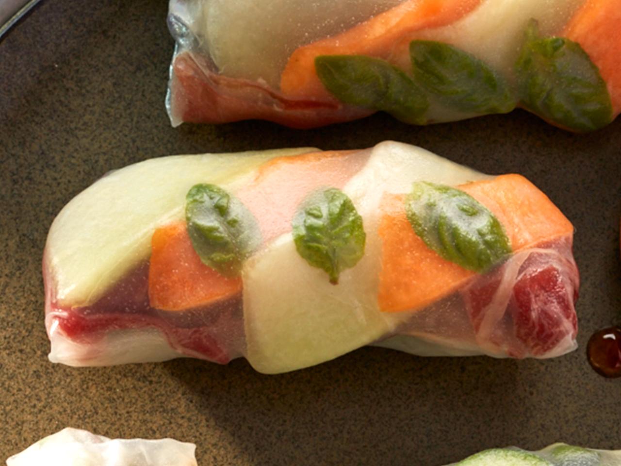 Cantaloupe, honeydew prosciutto salad rolls