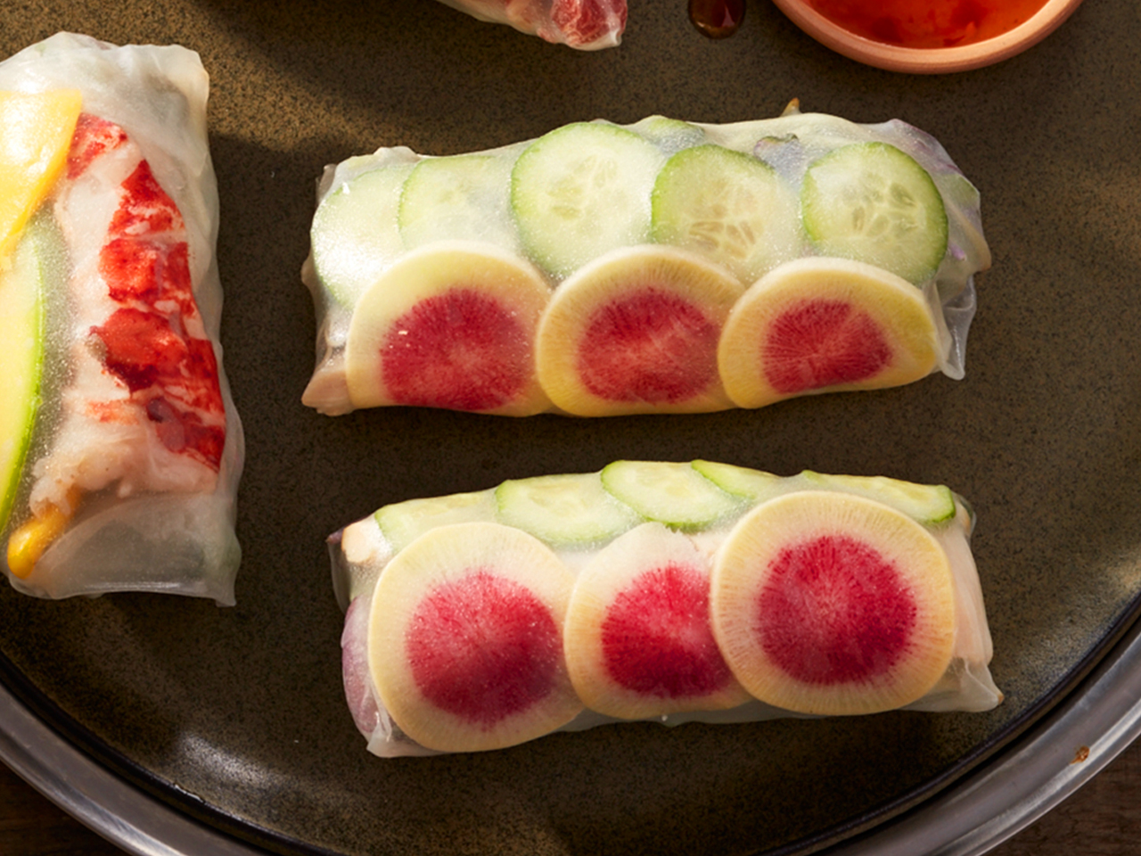 Cucumber, radish and chicken salad rolls