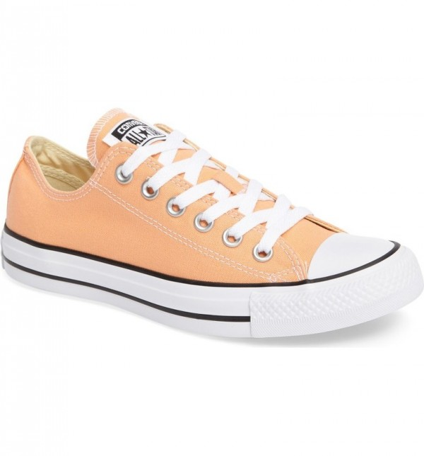 """<p>Converse Chuck Taylor All Star Low Top Sneaker, $78, <a href=""""http://shop.nordstrom.com/s/converse-chuck-taylor-all-star-seasonal-ox-low-top-sneaker-women-regular-retail-price-54-95/4637800?origin=category-personalizedsort&fashioncolor=SUNSET%20GLOW"""" target=""""_blank"""">Nordstrom</a>.</p>"""