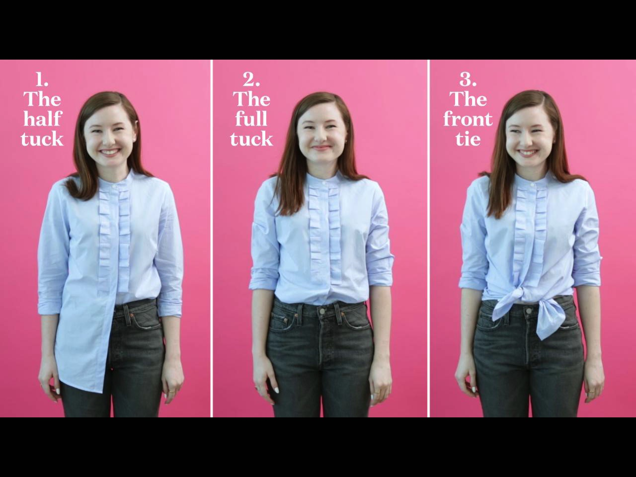 How to tuck in a shirt, from the full tuck to the half tuck to the tie