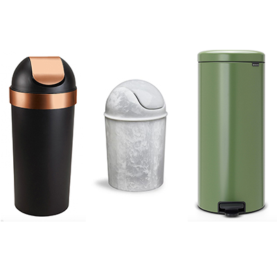 Umbra, black and copper can, Umbra onyx trash can, Amara green trash can