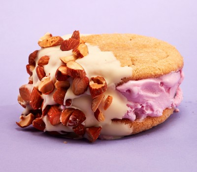 peanut butter cookie Almond-cherry ice cream sandwich