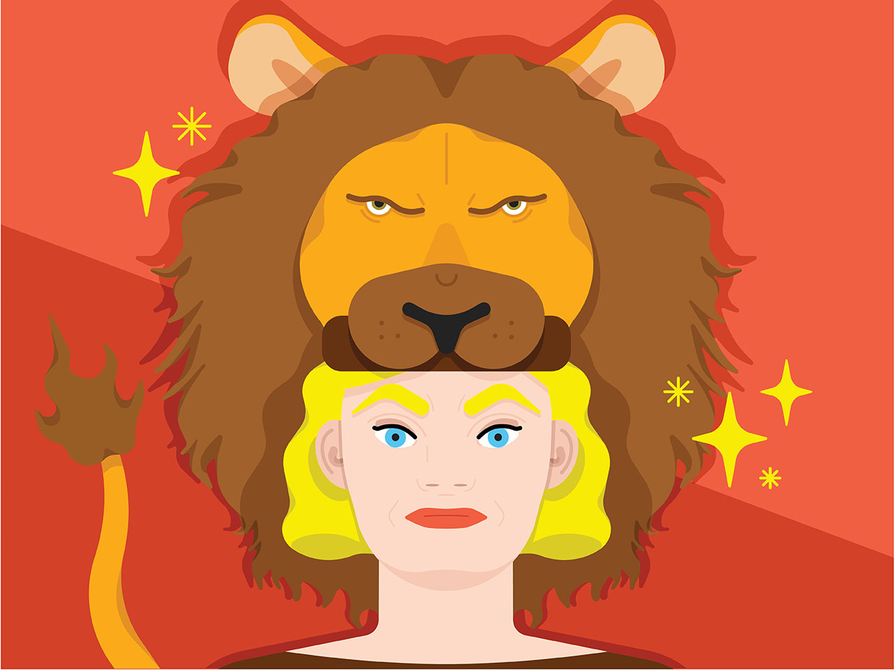 Illustration of woman wearing a lion hat symbolizes the horoscope sign for Leo.