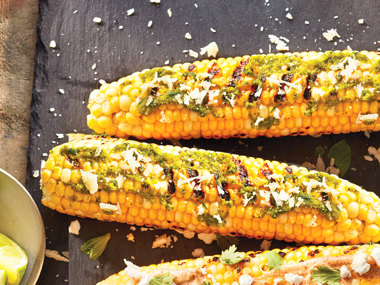 Pesto parmesan grilled corn