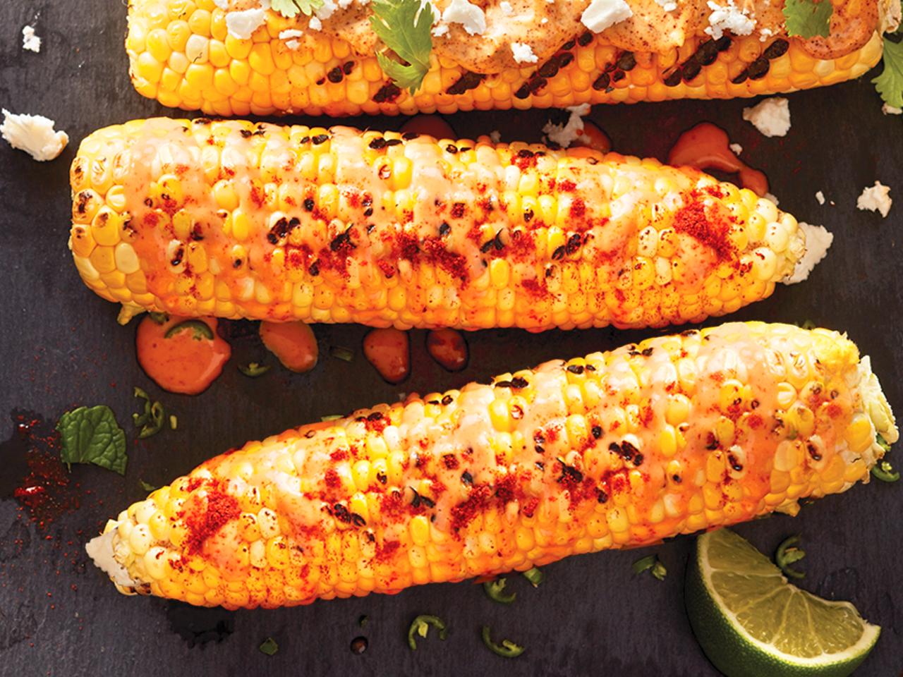 Sriracha aioli grilled corn recipe