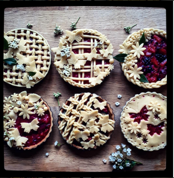 pie crusts: six small pies with butterfly cut outs and braided borders