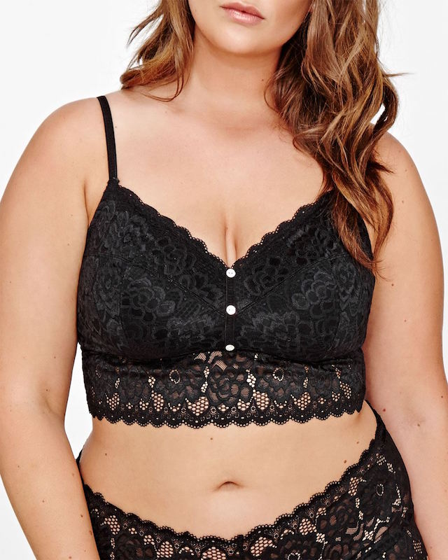 """<p>Ditch the underwire and play up your assets with a sheer bralette.Floral Lace Bralette with buttons, $40, <a href=""""http://www.additionelle.com/en/floral-lace-bralette-with-buttons---deesse-collection/765698.html?cgid=New-Arrivals-Lingerie&dwvar_765698_color=Lipstick%20dots#start=1"""" target=""""_blank"""">Addition Elle.</a></p>"""
