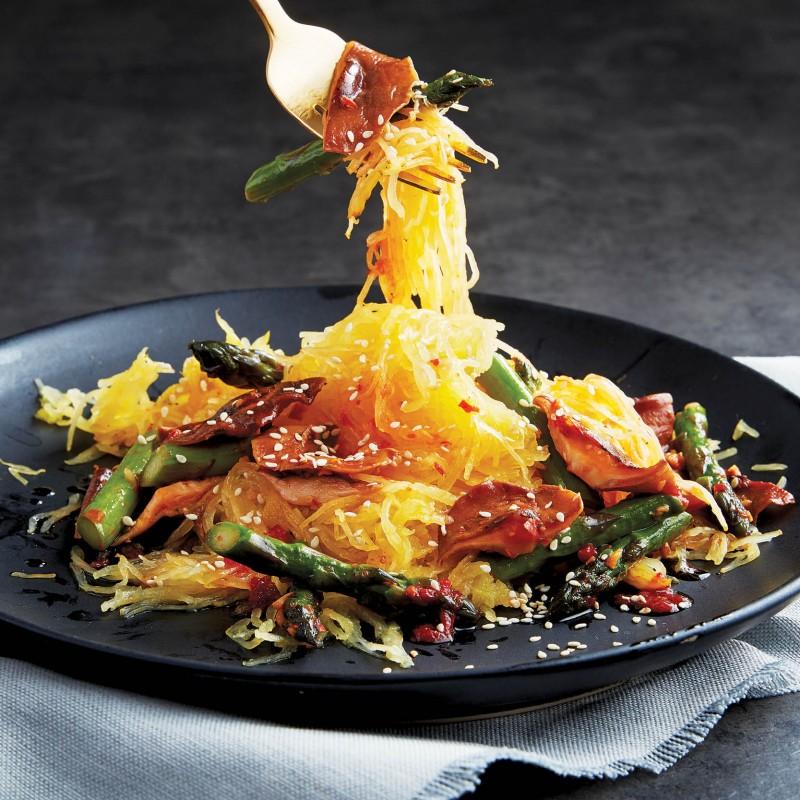 Asparagus, shiitake and spaghetti squash sauté