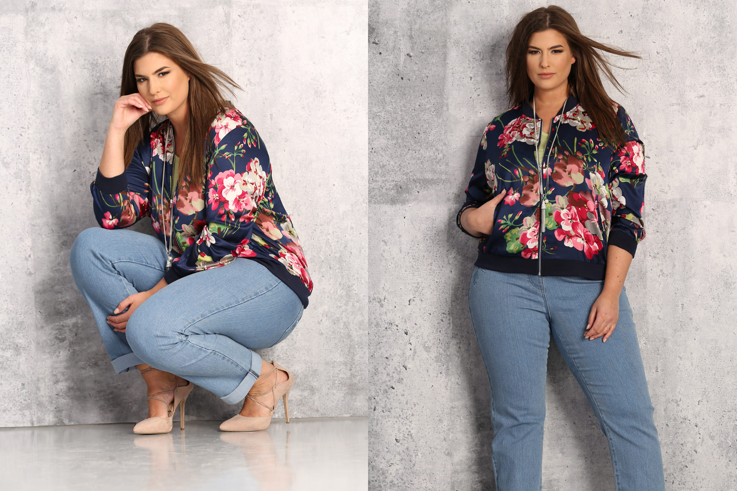 Long-haired brunette wears a blue and pink floral bomber with light blue jeans and nude stroppy heels from Claire France.