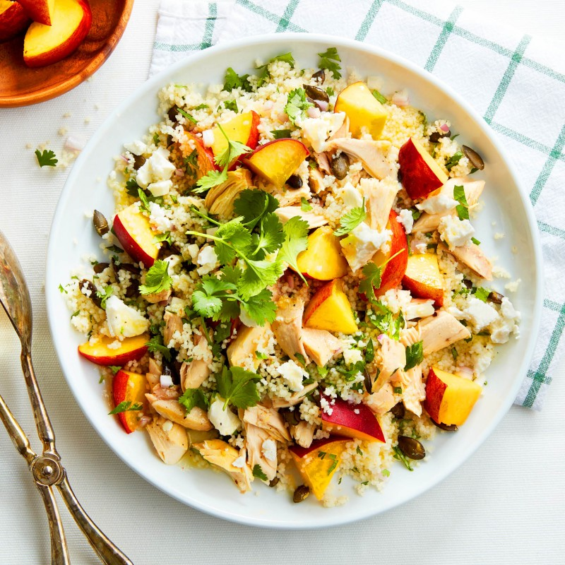 Peach and chicken couscous salad