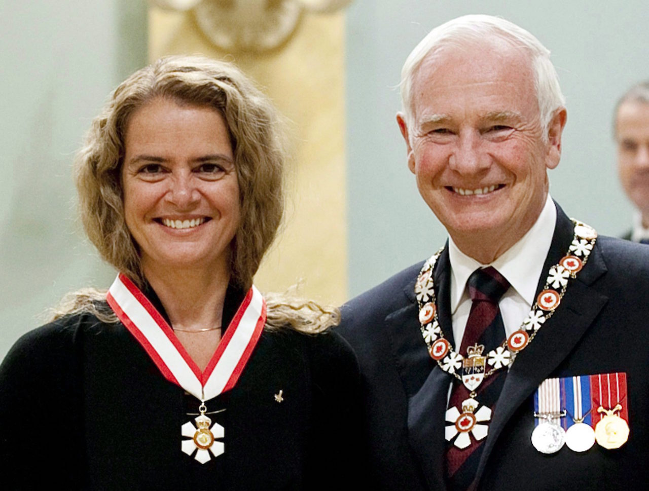 Canadian astronaut Julie Payette of Montreal stands with Governor General David Johnston after she was invested into the Order of Canada as Officer during a ceremony at Rideau Hall in Ottawa, Friday September 16 2011 . The federal government is set to reveal Canada's next governor general Thursday with an announcement outside the doors of the Senate. Sources are telling The Canadian Press and others that astronaut Julie Payette is among the top contenders. THE CANADIAN PRESS/Fred Chartrand