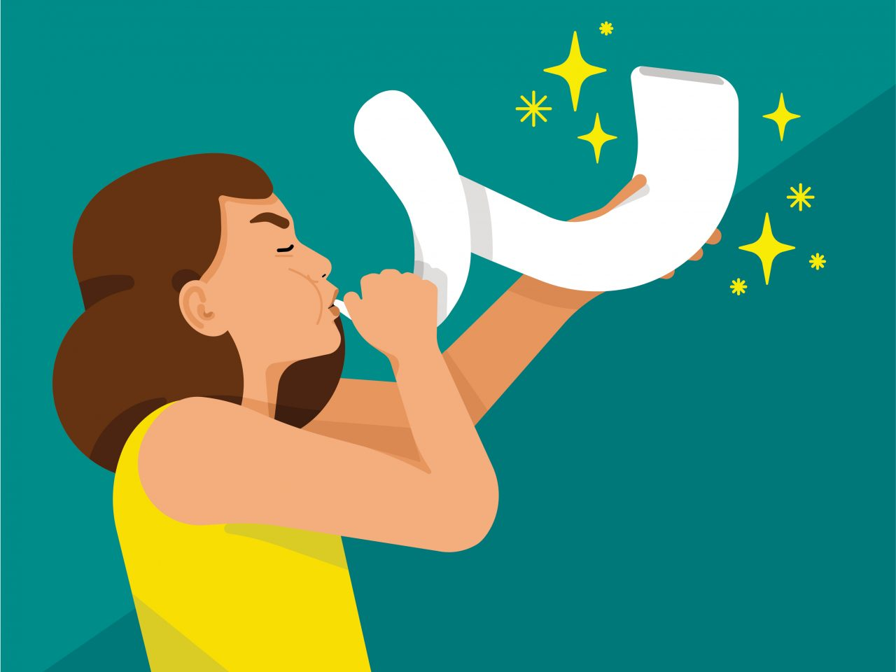 woman with brown hair blowing on a horn represents aries astrological sign
