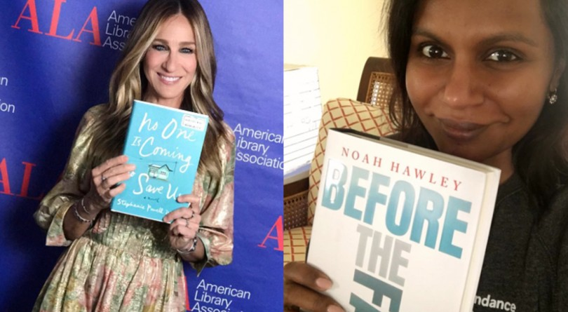 image of sarah jessica parker and mindy paling holding their book picks. Celebrity book pics feature photo.