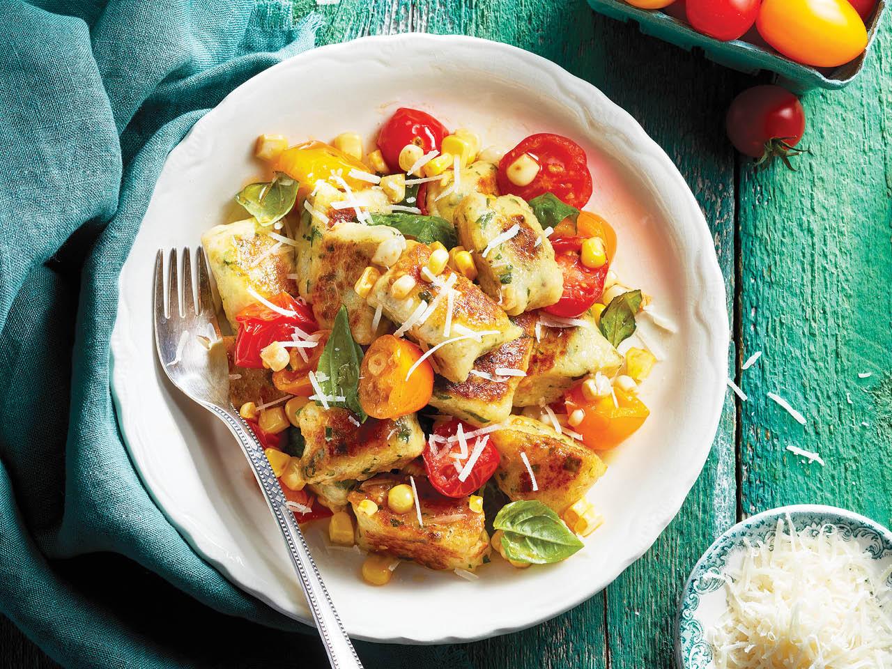 Fall dinner plan-fresh ricotta gnocchi with tomato and corn salad