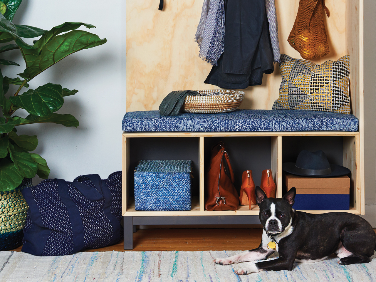 image of an organized entryway for hallway decorating ideas organizer and dog