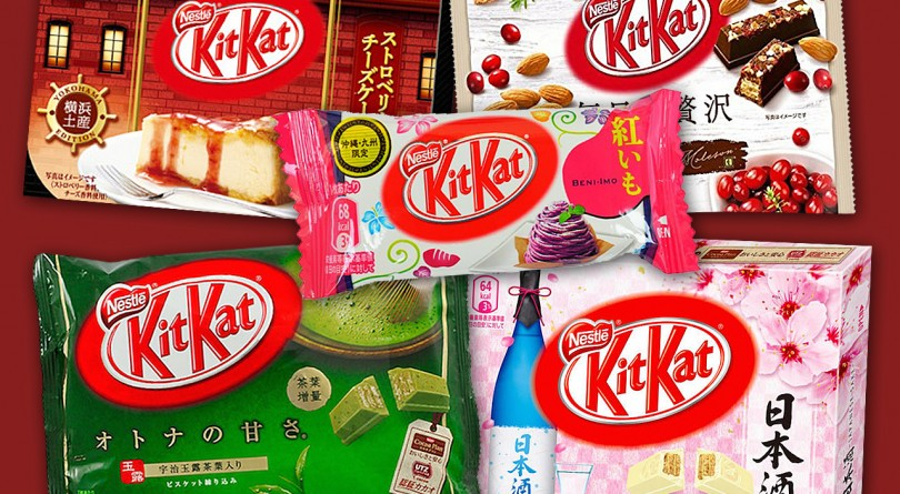 kit kat flavours: matcha, cheesecake, cranberry, sake and purple taro