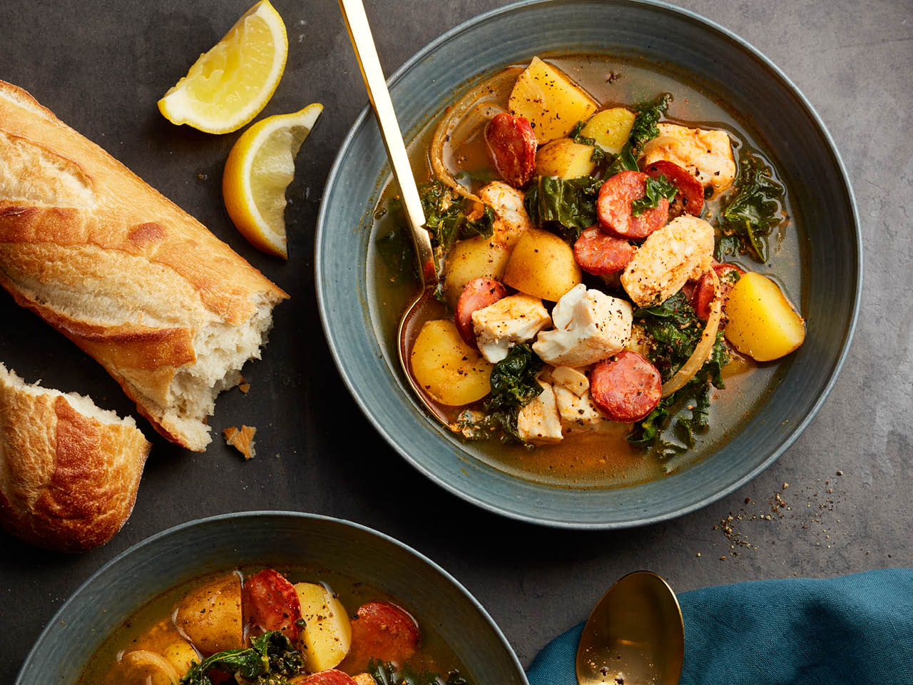 homemade soup: one-pot halibut and chorizo soup