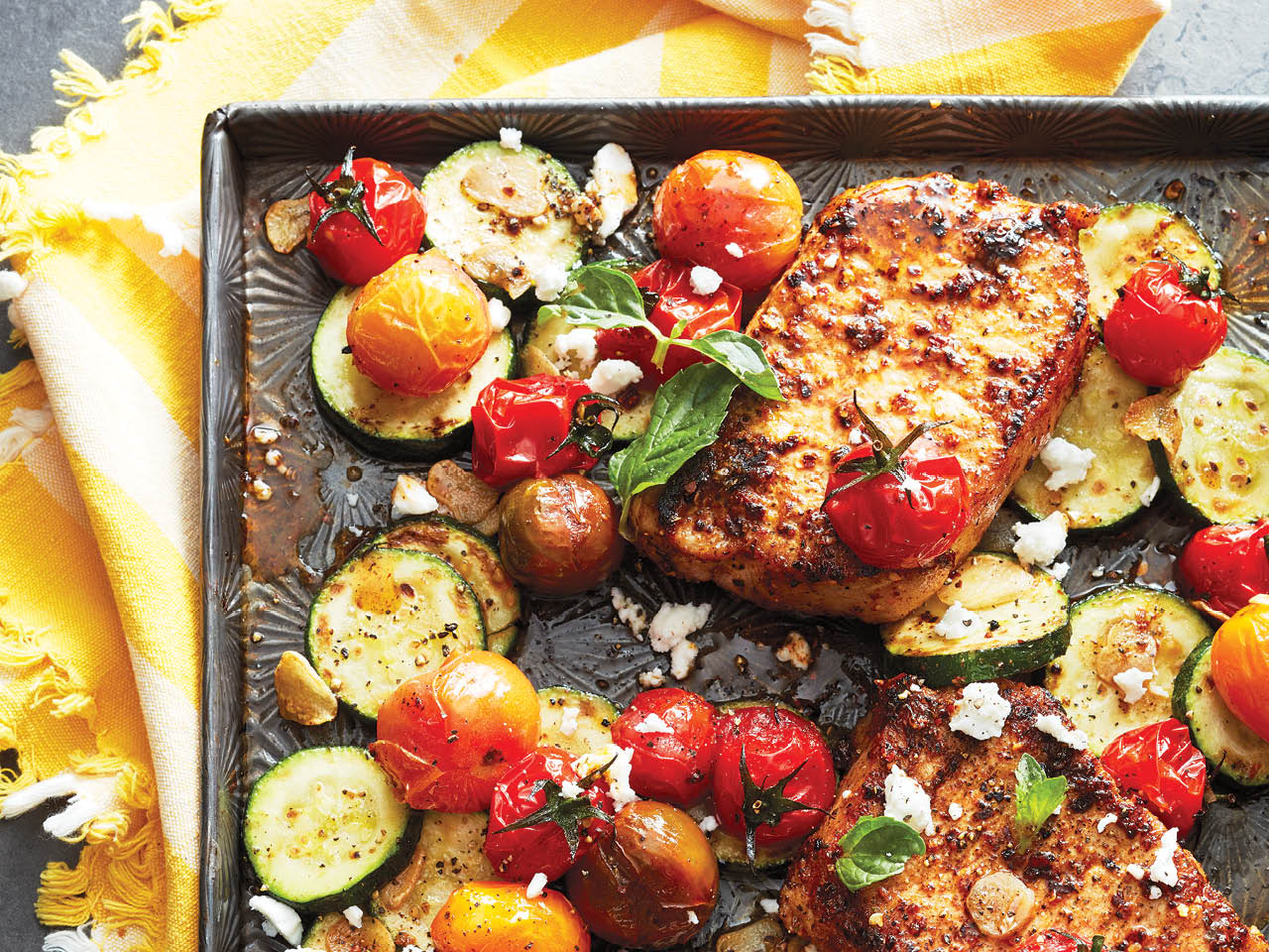 pork chop recipes: sheet pan pork chops with harissa spice