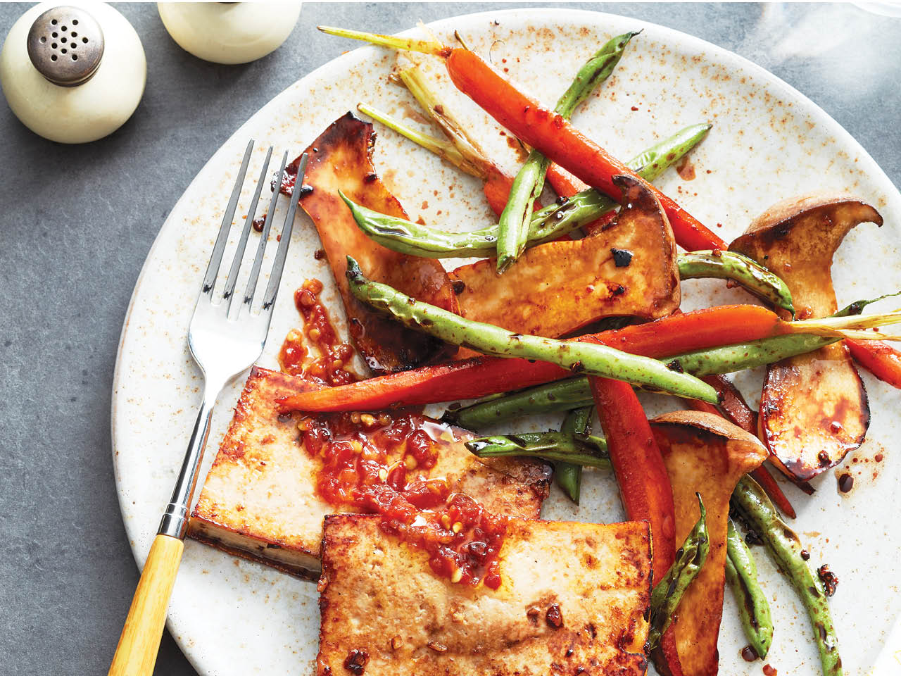 sheet pan tofu with sesame and roasted vegetables