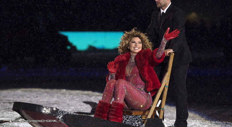 Shania Twain at the Grey Cup