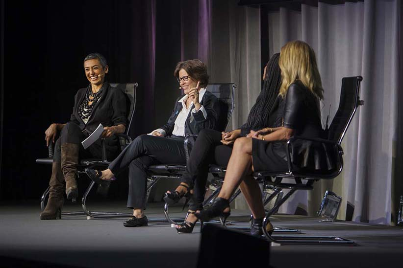 Zainab Salbi, Kara Swisher, Tamika D. Mallory and Lisa Bloom during a panel discussion at the Women in the World Canadian Summit in Toronto. (Photograph by Della Rollins)