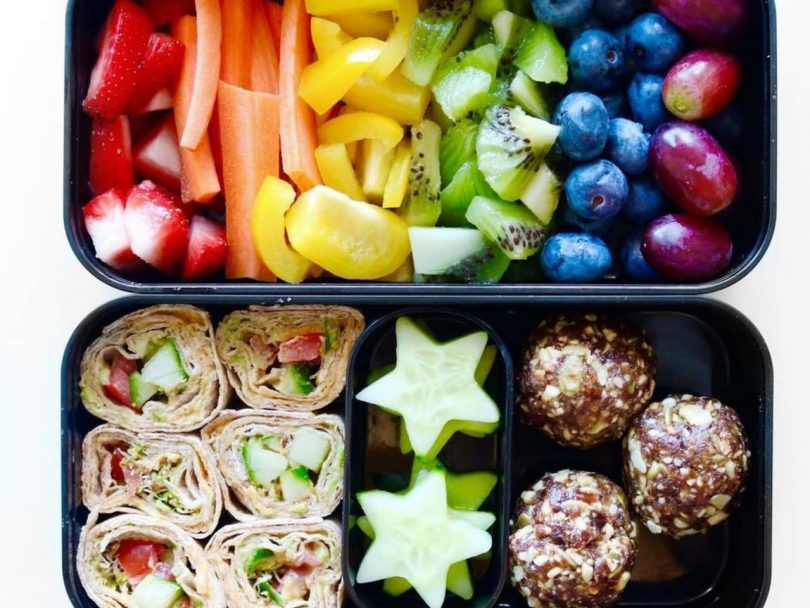 Bento box lunch ideas: lunch box filled with rainbow recipes