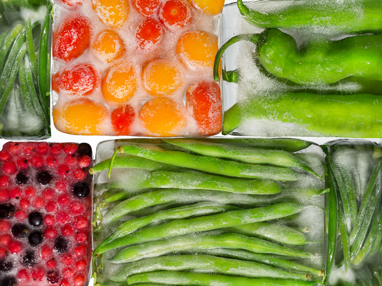 freezer storage: green peppers, tomatoes, green beans, berries in ice cubes