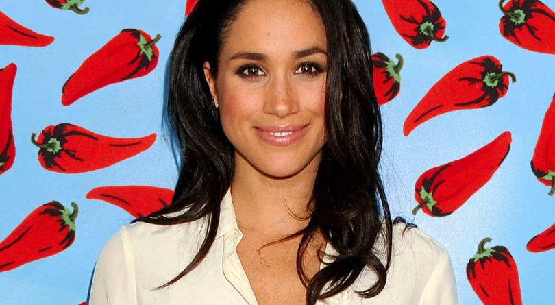 Meghan Markle Terroni Hot Chilies: Meghan Markle in white blouse in front of chili-pepper-covered background