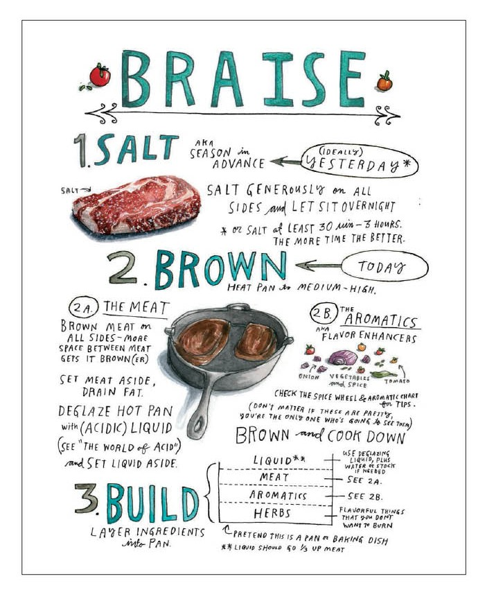 Braising Instructions, Illustrated from Salt, Fat, Acid, Heat by Samin Nosrat