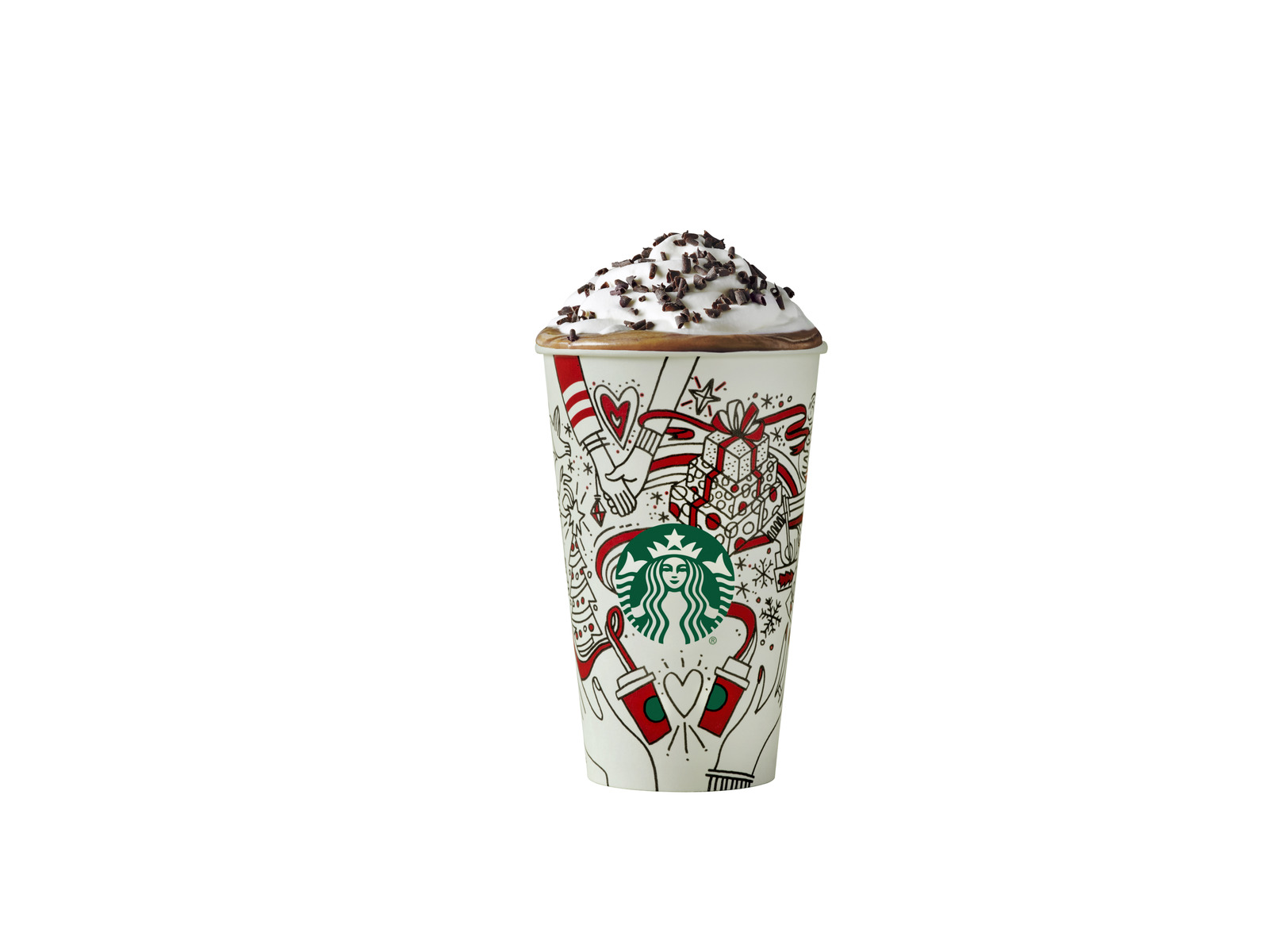 Peppermint mocha latte in a Starbucks red cup