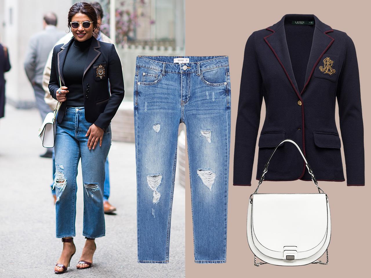Priyanka Chopra wearing a celebrity denim outfit