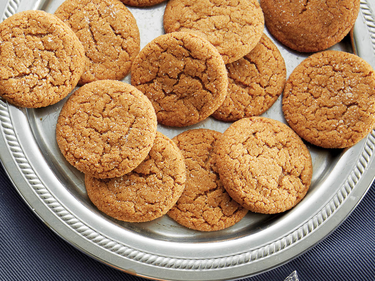 soft ginger cookies with crackles on silver plate