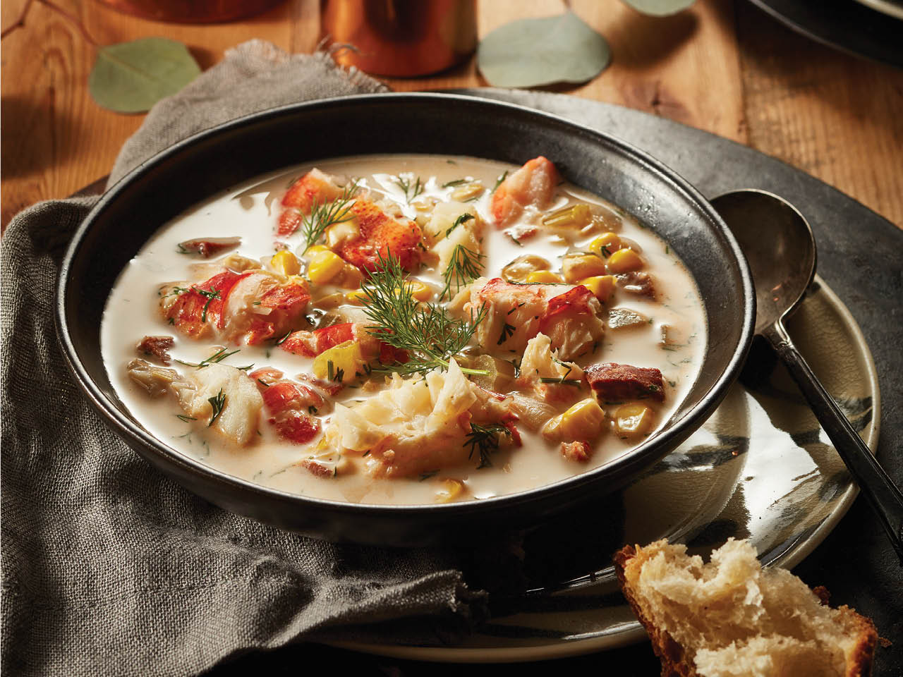 Classic Christmas Eve Dinner: lobster chowder