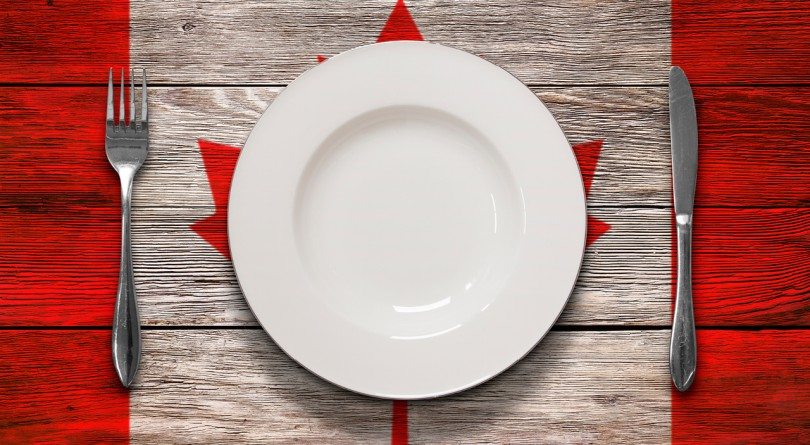 white dinner plate and knife and fork on canadian flag