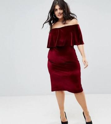 Club L Plus Bardot Velour Midi Dress, Asos, $49 (from $82)