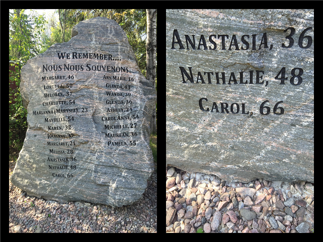 A monument erected in the memory of women killed by their partners in Renfrew County.