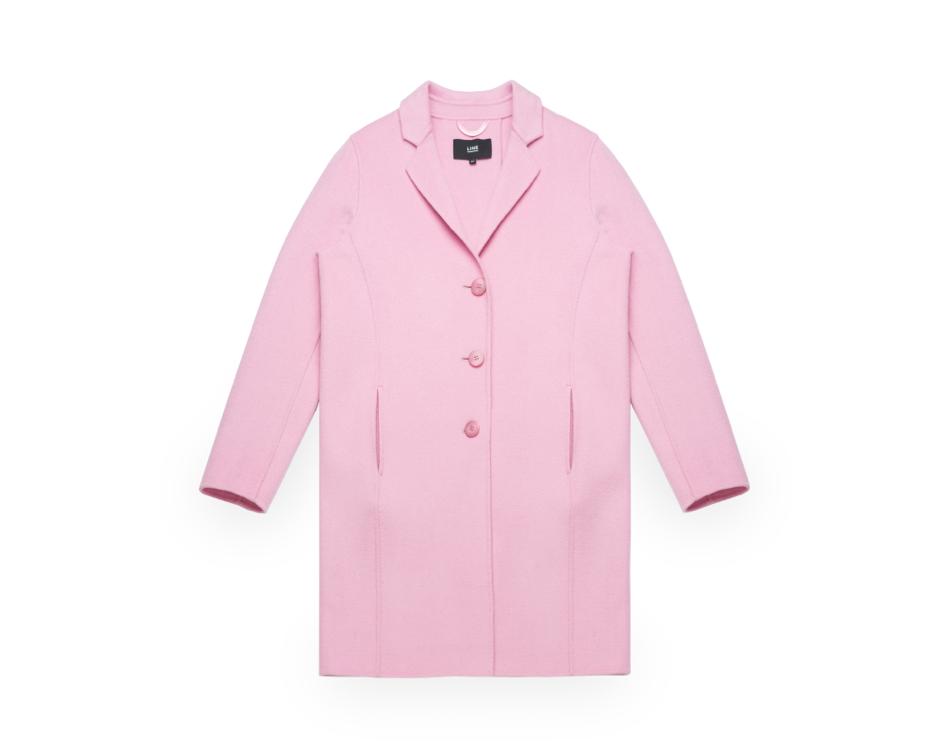 Pink Line Wool Winter Coat