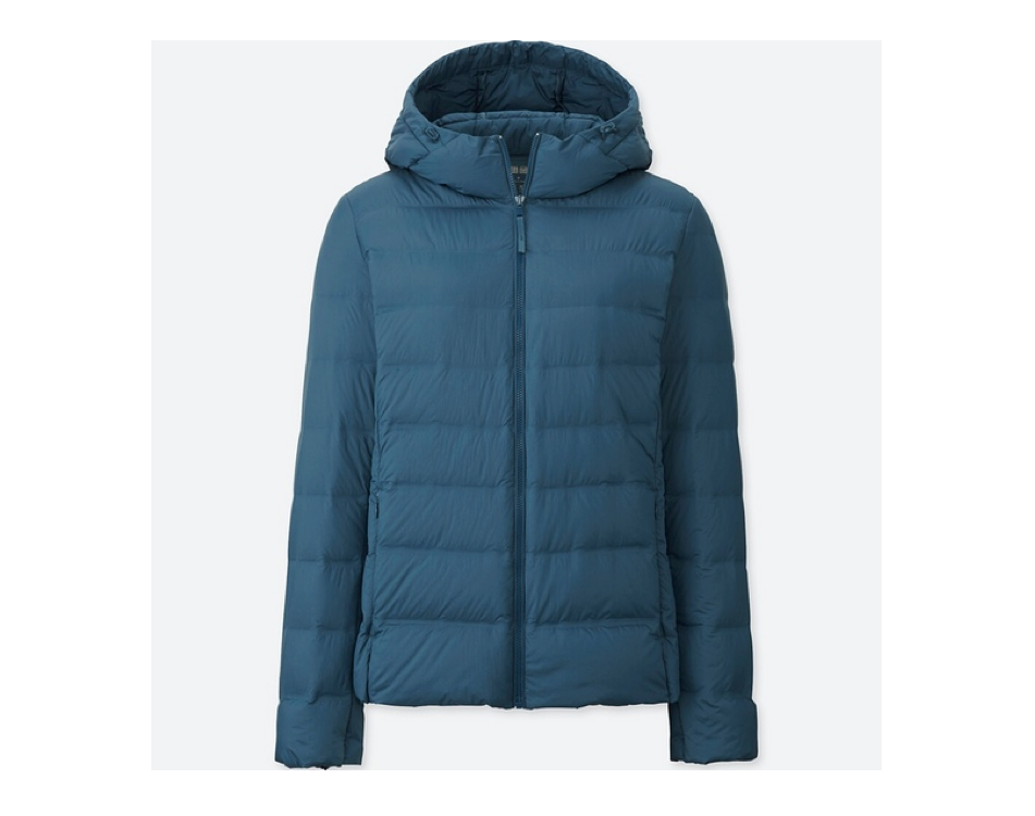 Blue Uniqlo Down-Filled Winter Coat