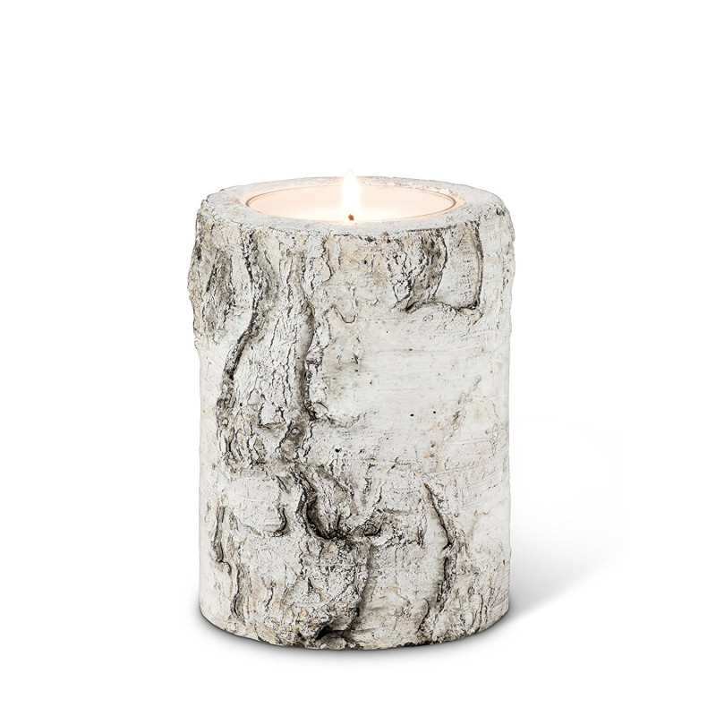 Birch-look candle holder