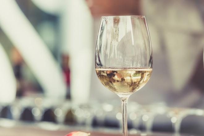 white wine glass of pinot grigio