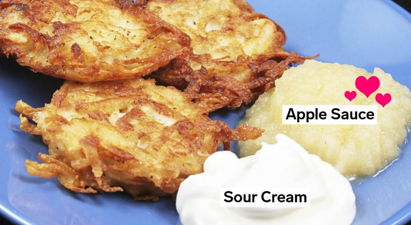 Blue plated with three latkes and a dollop of applesauce and one dollop of sour cream