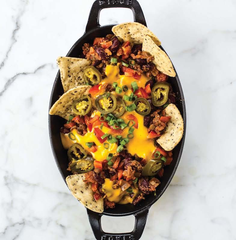 Black pan filled with Oh She Glows vegan nachos